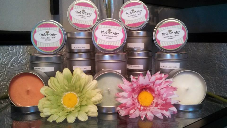 NEW at me boutique salon: Pink Daisy candles!
