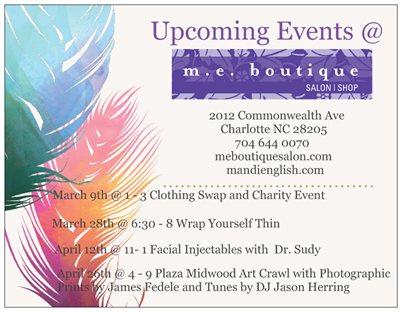 Upcoming Events at m.e.boutique salon!
